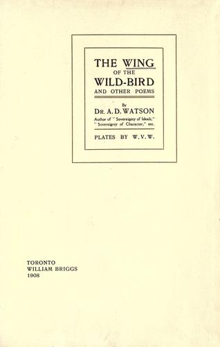 The wing of the wild-bird and other poems