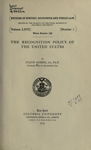 Download The recognition policy of the United States