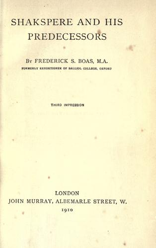 Download Shakespeare and his predecessors.