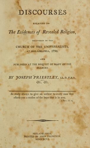 Discourses relating to the evidences of revealed religion (Open ...
