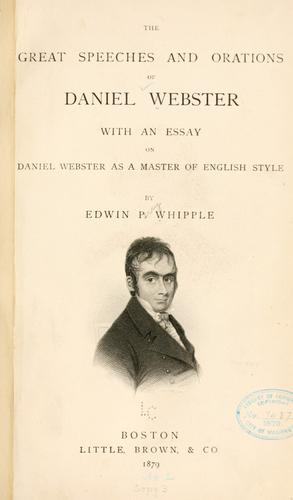 Download The great speeches and orations of Daniel Webster
