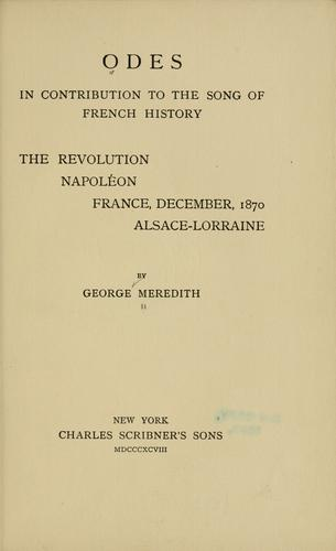 Download Odes in contribution to the song of French history