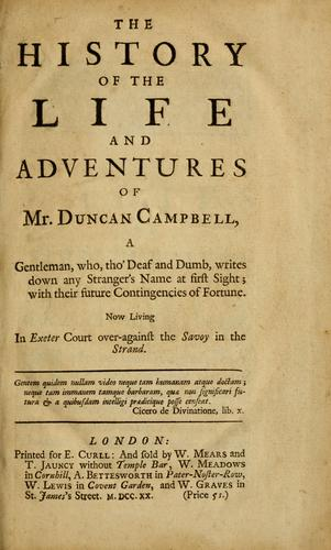 Download The history of the life and adventures of Mr. Duncan Campbell