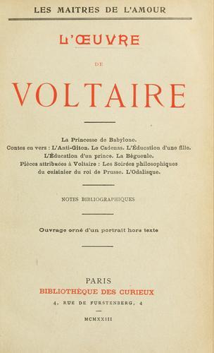 L' œuvre de Voltaire.