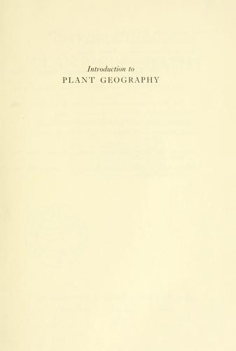 Introduction to plant geography and some related sciences.