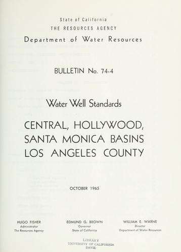 Download Water well standards: Central, Hollywood, Santa Monica Basins, Los Angeles County.
