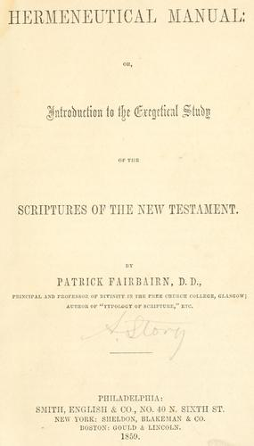 Hermeneutical manual