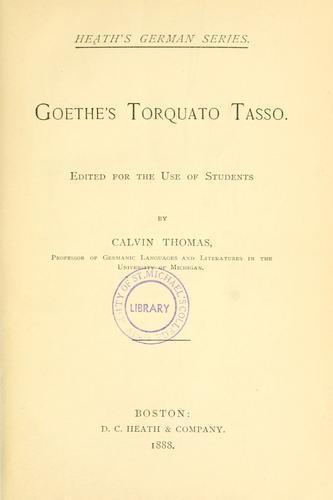 Goethe's Torquato Tasso.