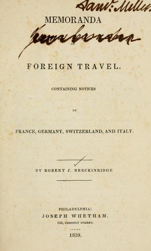 Download Memoranda of foreign travel.