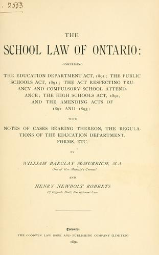 The school law of Ontario