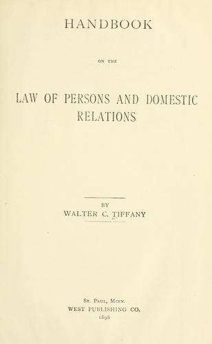 Download Handbook on the law of persons and domestic relations