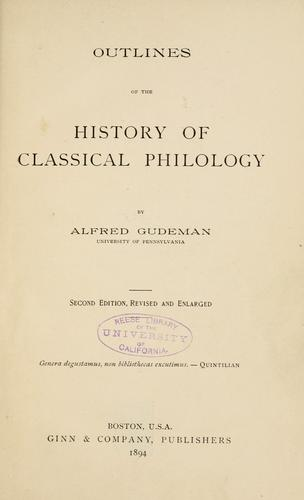 Download Outlines of the history of classical philology