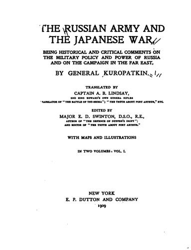 Download The Russian army and the Japanese war