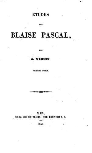 Études sur Blaise Pascal.