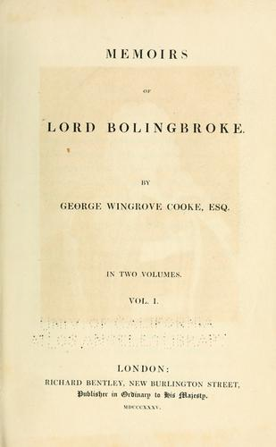 Memoirs of Lord Bolingbroke.