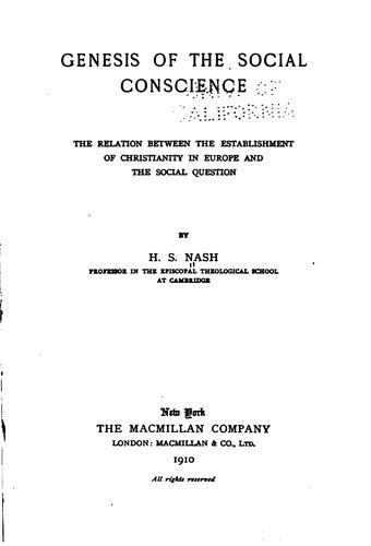 Genesis of the social conscience