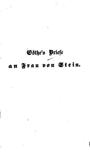Download Goethes Brief an Frau von Stein