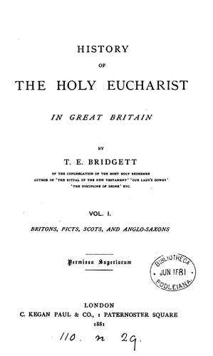 A history of the Holy Eucharist in Great Britain