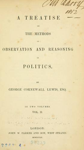 Download A treatise on the methods of observation and reasoning in politics.