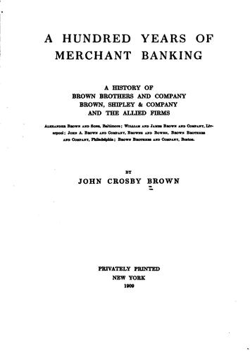 Download A hundred years of merchant banking