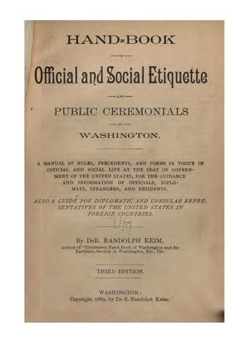 Download Hand-book of official and social etiquette and public ceremonials at Washington.