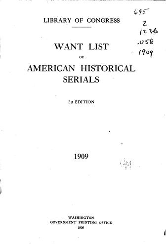 Want list of American historical serials.