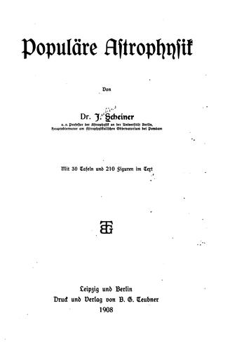Download Populäre astrophysik
