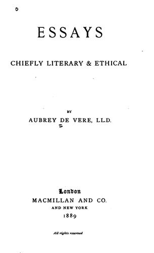 Essays, chiefly literary and ethical.