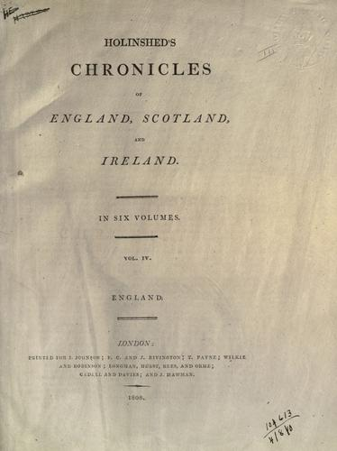 Chronicles of England, Scotland and Ireland.