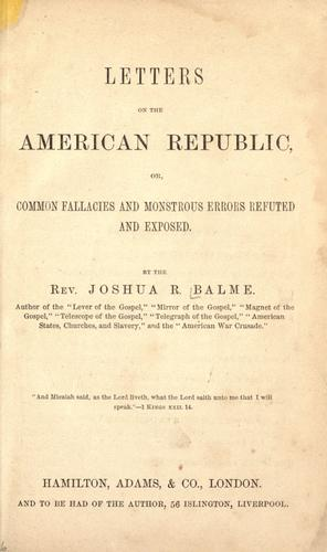 Letters on the American republic