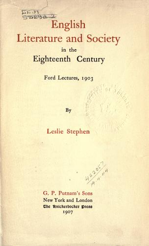 Download English literature and society in the eighteenth century.