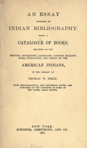 Download An essay towards an Indian bibliography.