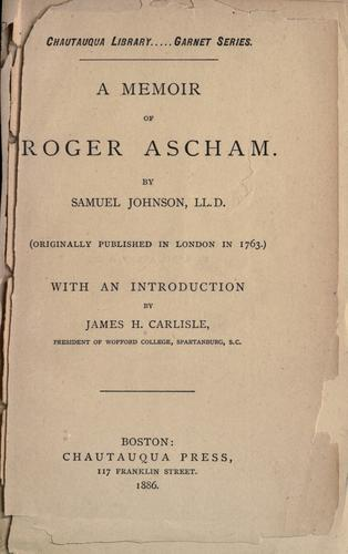 Download A memoir of Roger Ascham