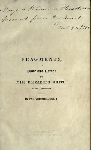 Fragments, in prose and verse.