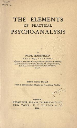 The elements of practical psychoanalysis