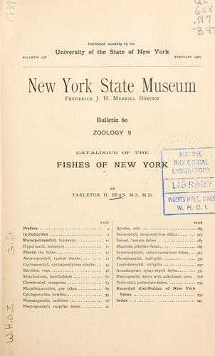 … Catalogue of the fishes of New York.