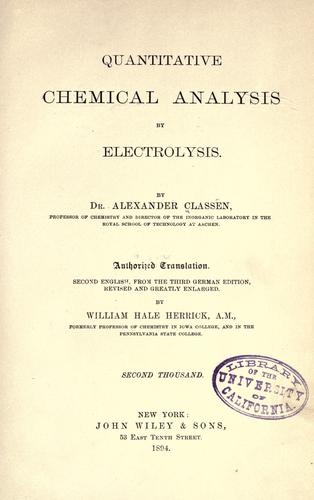 Download Quantitative chemical analysis by electrolysis.
