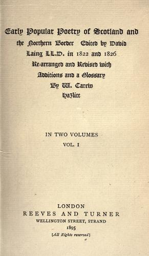Early popular poetry of Scotland and the northern border.