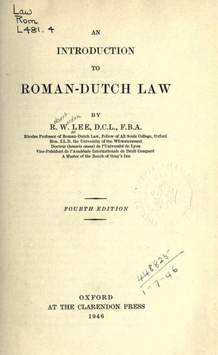 Download An introduction to Roman-Dutch law.