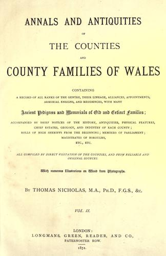 Download Annals and antiquities of the counties and county families of Wales