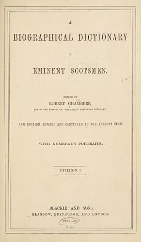 Download A biographical dictionary of eminent Scotsmen