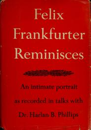 Cover of: Felix Frankfurter reminisces | Felix Frankfurter