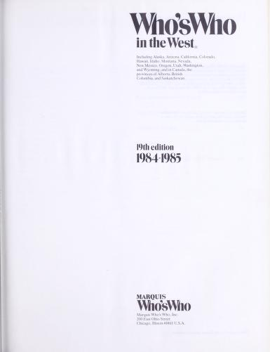 Who's who in the West by