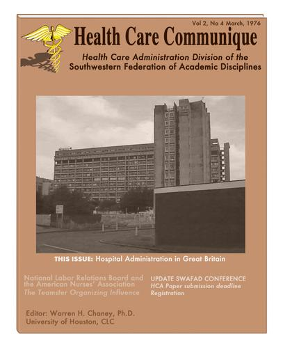 Health Care Communique by Warren H. Chaney, Ph.D.