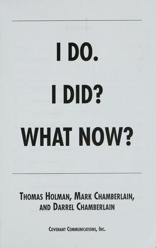 I do. I did? What now? by Thomas Holman