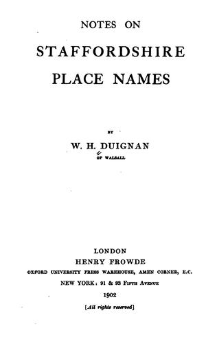 Notes on Staffordshire place names by Duignan, W. H.