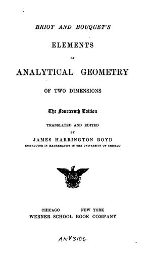 Briot and Bouquet's elements of analytical geometry of two dimensions.