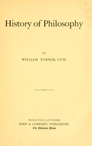 History of philosophy by Turner, William
