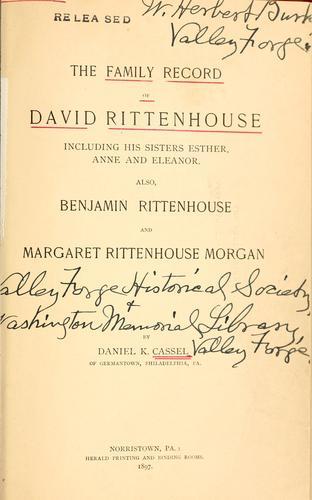 The family record of David Rittenhouse