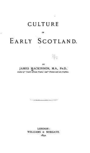 Culture in early Scotland.
